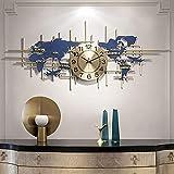 Linjolly Reloj de Pared Reloj de Pared Sala de Estar Relojes de Pared Grandes Reloj de Pared Arte de Hierro Arte silencioso Mapa del Mundo World Wall Clock