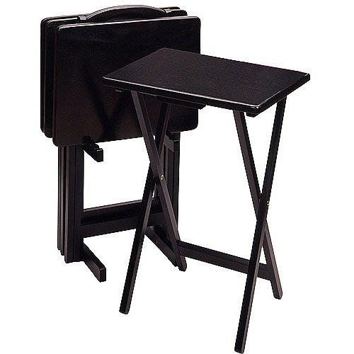 Rectangular Tv Tables, Set of 4 with Stand - Black - Home Furniture - Television Stands - Wooden Table - Five-piece Set - Has Water Protection - Conveniently Portable
