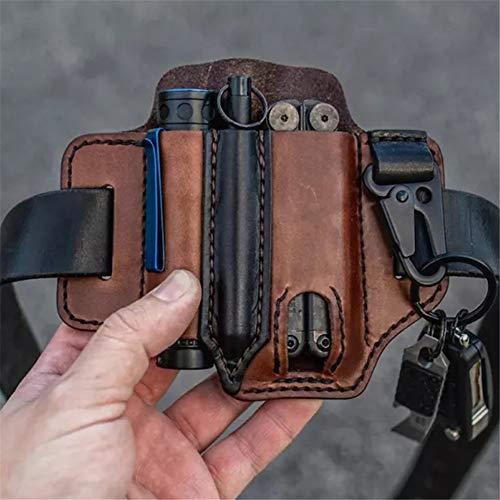 Funda de Cuero Multiherramienta,Organizador de bolsillo EDC,Multifuncional Leather Sheath, Portable Tool Holster Storage Belt Bag,Para Llaves Para Cinturóny Linterna Bolsa (marrón)