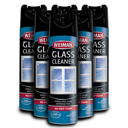 Weiman Glass Cleaner  19 Ounce 6 Pack  Non Toxic Professional Streak Free Foaming No Drip Removes Grease Dissolves Fingerprints and Smudges…