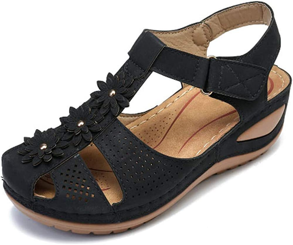 Womens Outdoor Sandals Cutout Leather Athletic Wedge Sandals Comfy Summer Driving Walking Shoes