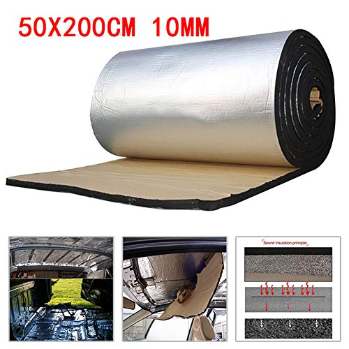 BonTime Schalldämmmatte, 10 MM Aluminiumfolie Auto Schalldämmung Schalldämmung Schaum Platten Für Motor/Dach/Fenster (50 * 200 cm)