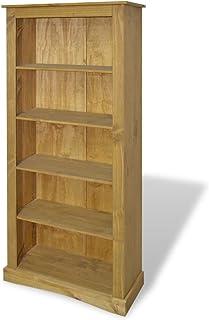 UnfadeMemory Estantería Librería,Estante de CD DVD,Estantería para Libros para Salón Habitación Oficina Estudio,Estilo Mexicano de Mobiliario 'Corona',Madera Maciza de Pino (81x29x170cm,5 Niveles)