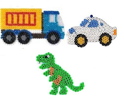 Hama Happy Price Toys Midi (Set 64) Stiftplatten LKW ,Auto und Dino + Bügelanleitung