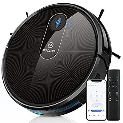 MOOSOO Robot Vacuum, Wi-Fi Connectivity, 120 Min Runtime Self-Charging Robotic Vacuum Cleaner, Compatible with Alexa & Google Assistant, Quiet, Super-Thin, Ideal for Pet Hair, Carpets, Hard Floors