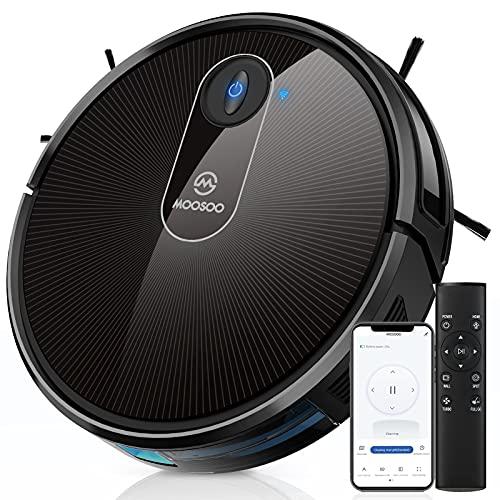 Robot Vacuum, MOOSOO Self-Charging Robotic Vacuum Cleaner, 1800Pa Strong Suction, WiFi/App/Alexa, Super Quiet, Ideal for Pet Hair, Medium-Pile Carpets, Hard Floors, MT-720