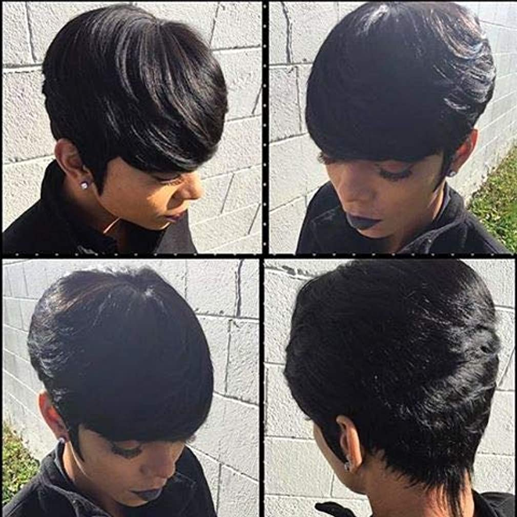Naseily Short Black Wig Short Pixie Cut Wigs For Black Women African American Wigs High Temperature Synthetic Wig