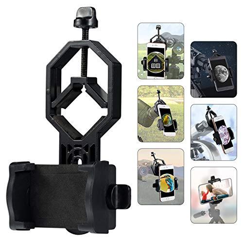 HUTACT Adaptador del Teléfono Móvil, Soporte Universal para Telescopio, Binocular, monocular, Clip para Teléfono Móvil Giratorio de 360° Adapta a Casi Todos los Teléfonos Inteligentes en el Mercado