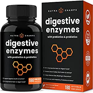 Goodbye Gas & Bloating - Put an end to excessive bloating, gas, and stomach discomfort once and for all with NutraChamps Digestive Enzymes. With over 10 vital enzymes working in collaboration, this breakthrough solution can reduce all types of digest...