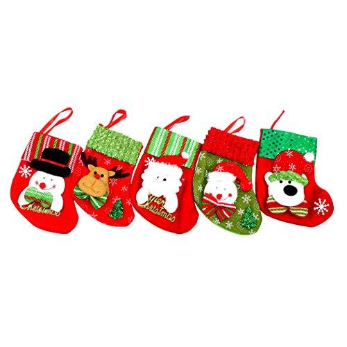 Abcsea Ornements D'arbre De Noël, 5pcs Noël Suspendus Chaussettes, Pendentifs D'arbre De Noël, Chaussettes Noël Bas De Noël Chaussettes Sac De Bonbons Cadeau (couleur et style aléatoires)