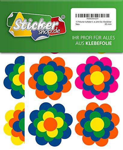 Autocollant 15 fleurs multicolores 65 mm, style rétro culte années 1970–sticker mural