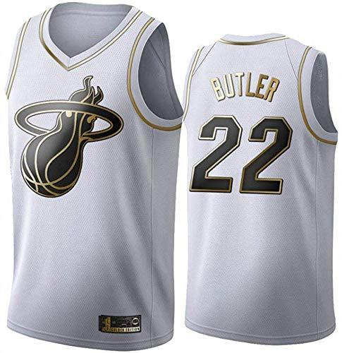Wo nice Camisetas De Baloncesto para Hombres, Miami Heat # 22 Jimmy Butler NBA T-Shirts Camisetas Chalecos De Fan Uniformes Tops Casuales,Blanco,XL(180~185CM)