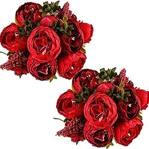 Silk Flower Arrangements Ogrmar Vintage Artificial Peony Silk Flowers Bouquet for Decoration (Red x2)