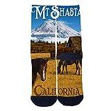 Mens Womens Casual California Art Prints Mount Shasta Travel and Horses Socks Crazy Custom Socks Creative...