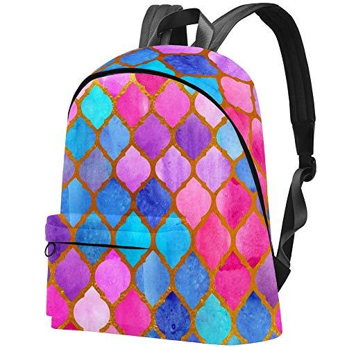 Arabische Fliesen des Aquarellmosaik-abstrakten geometrischen Musters Bag Teens Student Bookbag Leichte Umhängetaschen Reiserucksack Tägliche Rucksäcke