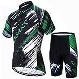 X-Labor Maillot de ciclismo para hombre, de secado rápido, jersey de manga corta y pantalones cortos con acolchado 3D, ropa de ciclismo para exteriores, color verde, 4XL