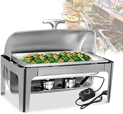 9 liter electric food warmer with lid baking tray, stainless steel buffet for buffet weddings or parties - keeps food warm all day YZPBB (Size : GN 1/1)
