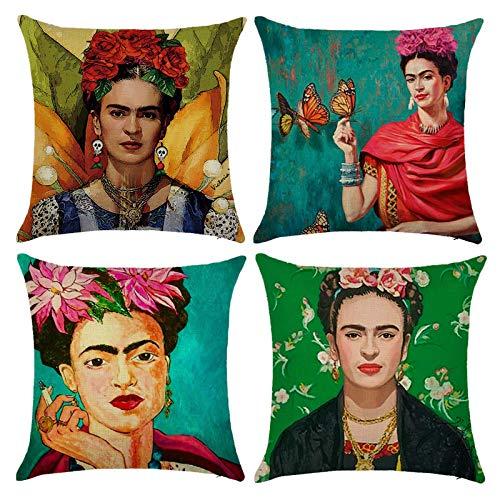 Adecuado para Frida Kahlo, pintor mexicano, lino de algodón, 4 piezas, funda de almohada cuadrada de 18 x 18 pulgadas, funda de cojín para coche, decoración del hogar