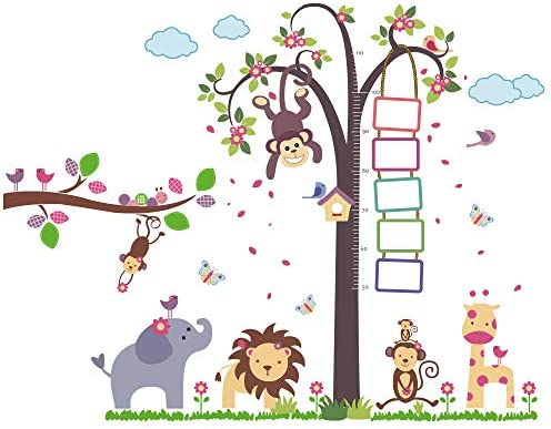Supzone Height Chart Wall Stickers Monkey Tree Wall Decals Photo Frame Wall Stickers Elephant product image