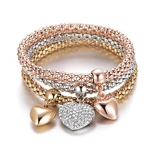 Bracciale elastico 3 pezzi per donna, bracciale catena popcorn con pendente ciondolo Bracciale in argento oro rosa bracciale per amico regalo (3 pezzi/set) (#5 Pendente cuore, Mescola colori)
