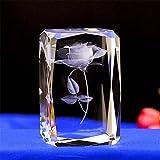 Cristal cubo de cristal Ciudad de Rose Papel 3D Escultura láser Estatua Recuerdo Artesanía Apoyos Regalo (Rosa2)
