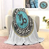Zodiac Capricorn Children's Blanket Grunge Astrology Elements Saturn and Earth Lettering with Sign Lightweight Soft Warm and Comfortable W91 x L60 Inch Taupe Pale Blue Beige