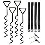 WADEO Trampoline Kit, Trampoline Anchor Kit Heavy Duty Pegs Corkscrew Shape Trampoline Tie Down Kit Come with 2 Spring…