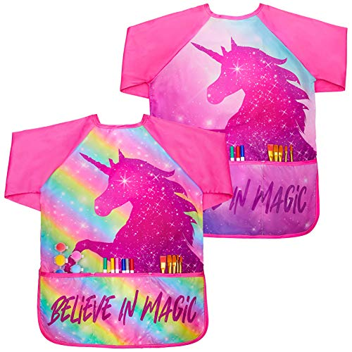 Basumee 2 Stück Malschürze Kleinkinder, Wasserdicht Kinder Malkittel Einhorn 5-8 Jahre Mädchen, Bastelschürze Kinder mit Ärmeln und 3 Taschen ,Regenbogen+roséblaues,8