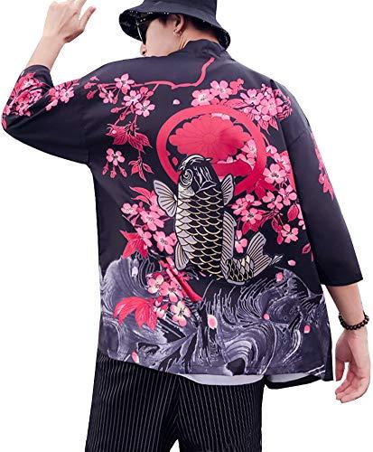 Men's Kimono Yukata Cardigan Casual Dragon Pattern Open Front Coat (Black Fish, Medium)