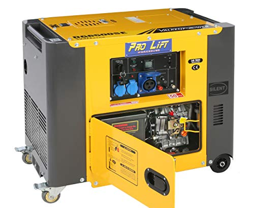 Pro-Lift-Werkzeuge Silent Stromaggregat 5500W 230V Stromerzeuger 4-Takt-Dieselmotor luftgekühlt Eletro-Starter Generator leise Notstromaggregat