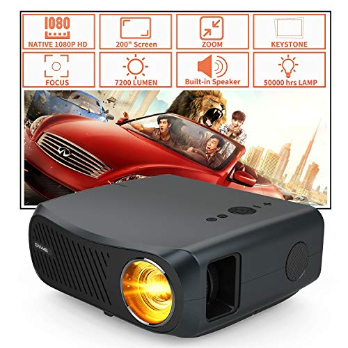 7200 Lumen Full HD1080P Native Video Projector LCD LED Movie Projectors Home Theater Outdoor High Resolution 1920 x 1080 HDMI USB VGA AV Audio Port Zoom for DVD Game Laptop Tablet TV Box Smartphone