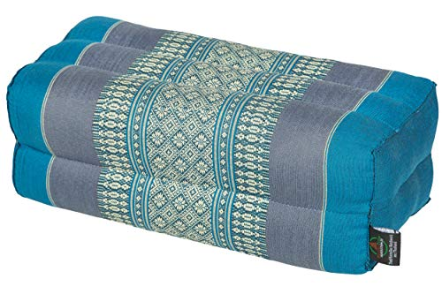 Handelsturm Pillow Block 35x15x10 cm, kapok-filled, Support Cushion for Yoga and Meditation, Traditional Thai Design Blue Tones
