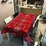 Mantel de Cocina geométrico Verde-Rojo, Mantel Impermeable y a Prueba de Aceite, tapete de Picnic para la Mesa de Centro de la Sala de Estar M-10 140x200cm