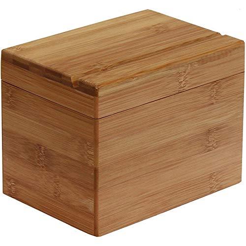 BOINN Caja de recetas de bambú prémium para organizar y almacenar recetas en la cocina.