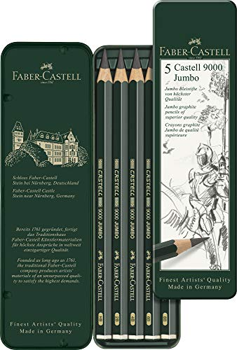 Faber-Castell 5 Piece Quality Castell 9000 Jumbo Graphite Pencils in a Tin, Including HB, 2B, 4B, 6B and 8B