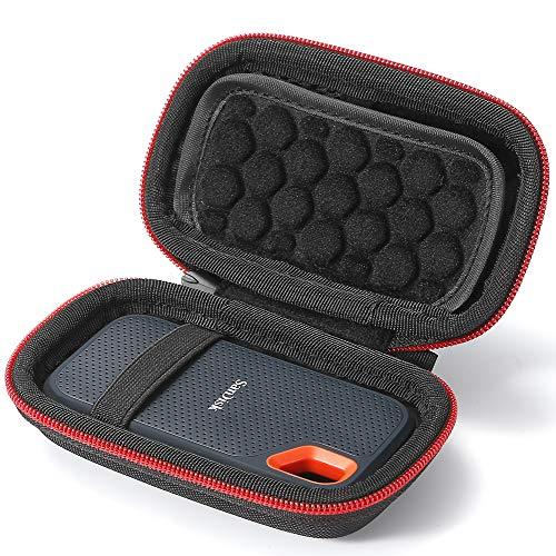 L3 Tech Custodia Rigida per SSD SanDisk 250GB / 500GB / 1TB / 2TB Extreme Portable SDSSDE60, Custodia di Trasporto - Nero (Fodera Nero)