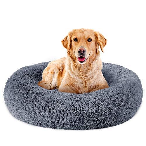 MOMD Flocke Hundebett Grosse Hunde,Waschbar-Abnehmbar Hundekissen mit Reißverschluss,Hundebett Flauschig Doughnut-Form Haustierbett,Donut40/60/80/100/120cmBlau-60cmM