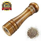 Molinillo de pimienta, molino de sal molino de especias manual de madera con fuerte amoladora de cerámica ajustable, 8 pulgadas