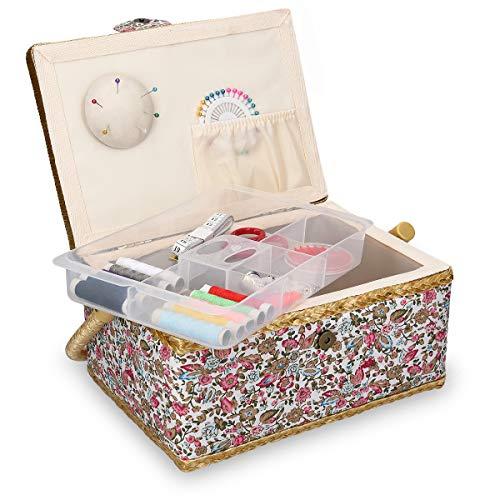 Navaris Costurero de Madera con 76 Accesorios - Caja de Costura Forrada en Tela Floral con 4 Compartimentos - Organizador con alfiletero Agujas Hilos