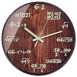 BEW Night Light Wall Clocks, Math Physics Formula Decorative Luminous Clock, Silent Glow-in-Dark Wooden Clock for Bedroom, Living Room, Dining Room, Kitchen, Apartment - 12 Inch