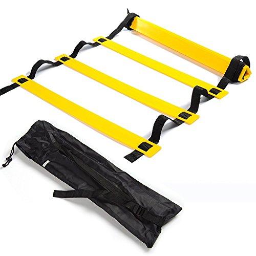 SKL Speed Agility Ladder 6M Escalera de Entrenamiento de 12 peldaños para fútbol de Baloncesto Baloncesto Fútbol Pies de Entrenamiento físico con Bolsa de Transporte