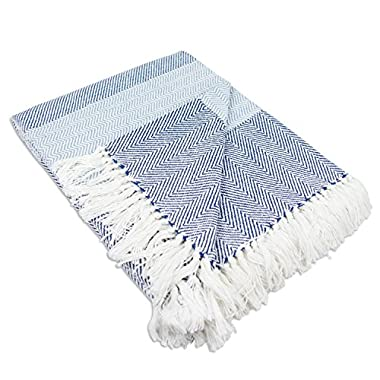 DII Rustic Farmhouse Cotton Stripe Blanket Throw with Fringe For Chair, Couch, Picnic, Camping, Beach, & Everyday Use , 50 x 60  - Rugby Stripe Blue