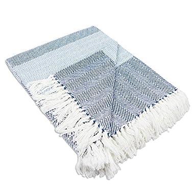 DII Coastal Herringbone Stripe Woven Throw, 50x60, Rugby Blue
