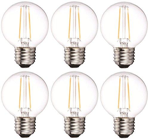 Bulbright G50 LED Glühbirne E27 Sockel Edison Lampe ersetzt 20 Watt, 2W, 200 Lumen, 2700K warmweiß, LED Filament Fadenlampe, für Hängelampe Wandleuchte 6Pack (E27 Sockel, 2 Watt)