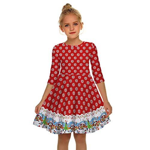 Alwayswin Frauen Kinder Mädchen Langarm Weihnachten Kleid Mode Mom Me 3D Print Party Kleider Prinzessin Xmas Kleid Elegant O-Ausschnitt Vintage Petticoat Kleider 50er Rockabilly Kleider
