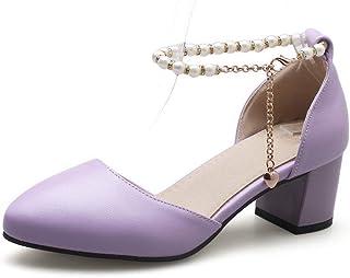 BalaMasa Womens ASL06461 Pu Block Heels