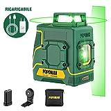 Livella Laser 30m verde POPOMAN, 1x360° linee laser, ricarica USB batteria al litio, 360° Girevole, Decorazione d'interni, Autolivellante, Modalità pulsata, Supporto Magnetico, IP54, Borsa - MTM330B