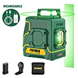 Livella Laser verde POPOMAN, 1x360° linee laser 30m, ricarica USB batteria al litio, 360�...