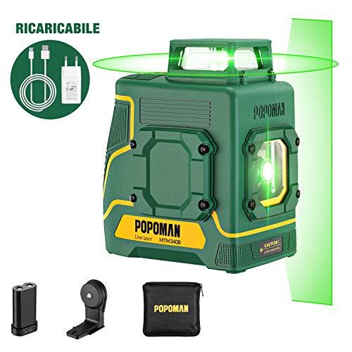Livella Laser verde POPOMAN, 1x360° linee laser 30m, ricarica USB batteria al litio, 360° Girevole, Decorazione d\'interni, Autolivellante, Modalità pulsata, Supporto Magnetico, IP54, Borsa - MTM330B