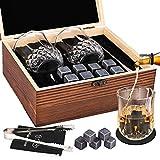 GOLDGE Ensemble de Cadeaux Pierre a Whisky, 8 Pierres de Refroidissement en Granit Noir Poli FDA-Vite Refroidissement, 2 Verres à Whisky & Pincettes de Barman & Deluxe Coffret en Bois